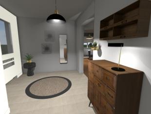 plan 3D mobilier et luminaire pour hall d'entrée