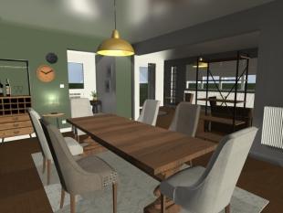 Plan 3D aménagement personnalisé salle à manger