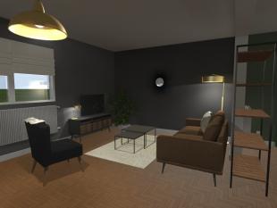 aménagement salon mobilier sobre marron noir et gris