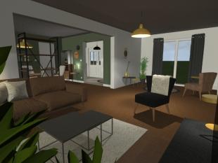 aménagement habitation privée couleurs marron gris