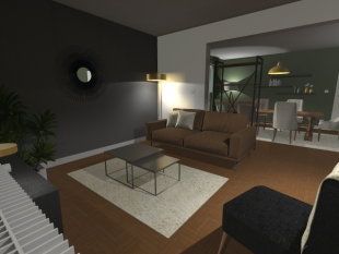 plan 3D salon habitation privée mobilier design