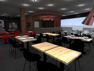 plan 3D restaurant au Luxembourg mobilier sombre