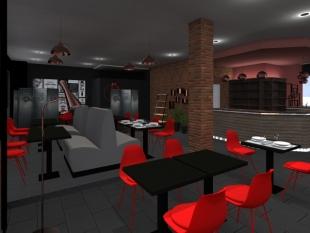 plan 3D décoration vintage mobilier rouge luminaires cuivrés