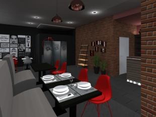décoration de restaurant vintage couleurs rouge et noir