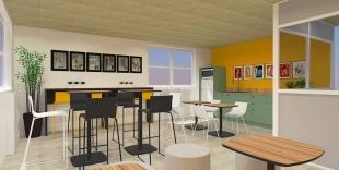 plan 3D cantine d'une entreprise mobilier coloré