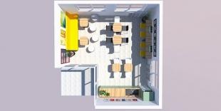 espace restauration vue du dessus mobilier et déco murale