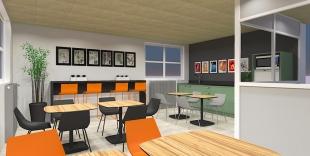 espace restauration d'usine chaises colorées orange et noir