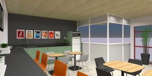 plan 3D architecture décoration d'un espace restauration