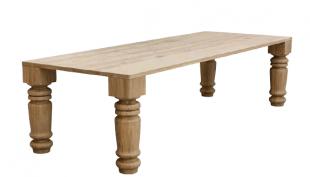 table classique en bois massif clair pieds sculptés
