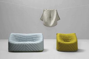 canapé et fauteuil avec housse colorée