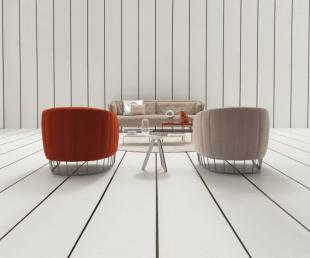 fauteuil bas coloré gris et rouge style contemporain