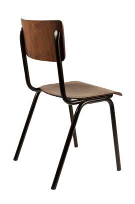 chaise en bois et acier style vintage