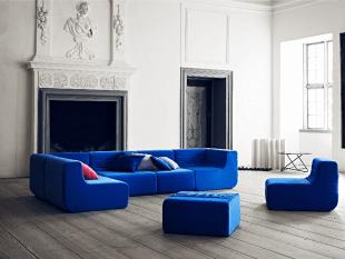 canapé bleu modulable en chauffeuse et banquette