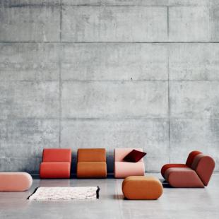 fauteuils modulables colorés pour espace d'attente design