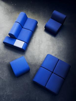 banquettes en cuir bleu modulables