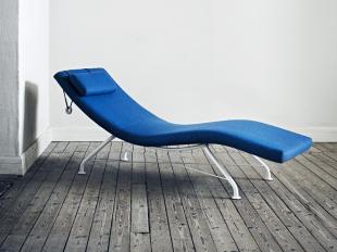 chaise lounge en tissu bleu pour espace détente