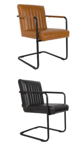 chaise design en acier et simili cuir vintage