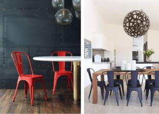 chaises colorées rouge et bleu style industriel