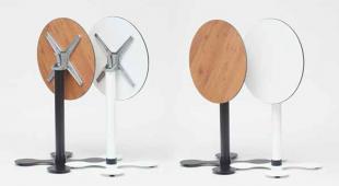 table ronde d'extérieur pliable en acier et bois