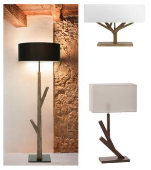 luminaire halogène ou lampe de bureau pieds en bois