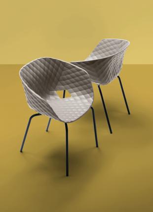 chaise design en acier et polypropylène