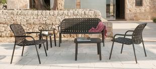 banquette et sièges lounge d'extérieur en acier et textile